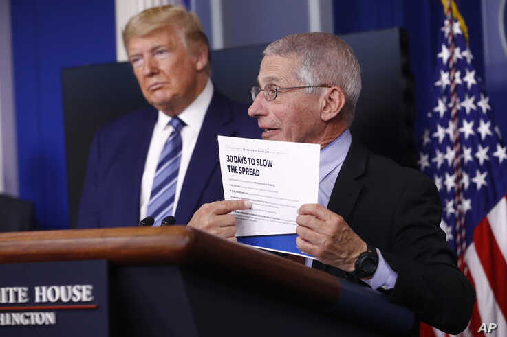 President Donald Trump listens as Director of the National Institute of Allergy and Infectious Diseases Dr. Anthony Fauci…