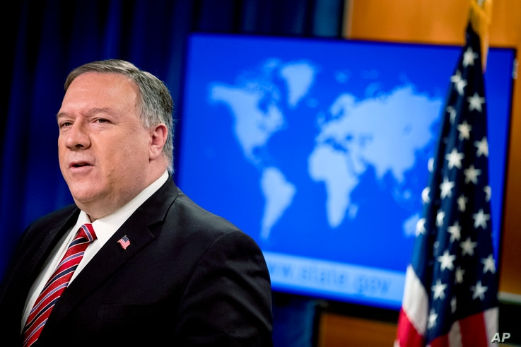 Secretary of State Mike Pompeo speaks at a news conference at the State Department, Wednesday, April 29, 2020, in Washington. …
