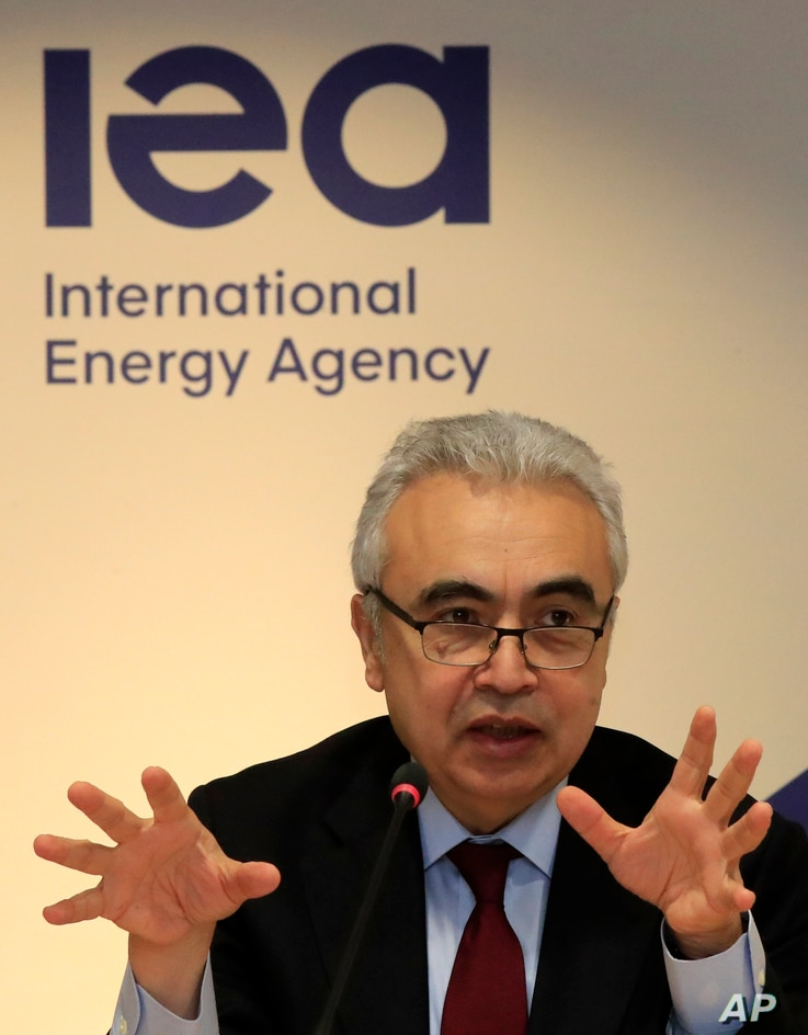 Executive Director of the International Energy Agency Fatih Birol speaks Wednesday, Nov. 13, 2019 in Paris. The world's thirst…