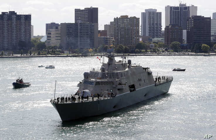 The USS Detroit, one of the United States Navy's newest warships, arrives Friday, Oct. 14, 2016, in Detroit. It's scheduled to…