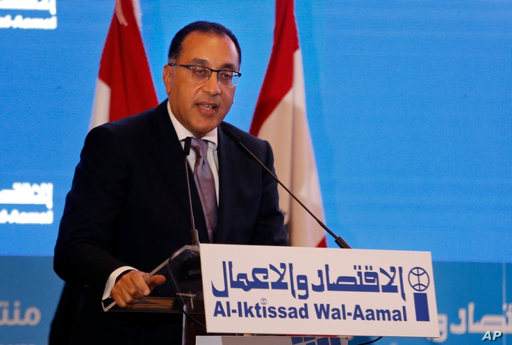 Egyptian Prime Minister Mostafa Madbouly, speaks during the opening session of the Arab Economic Forum in Beirut, Lebanon,…