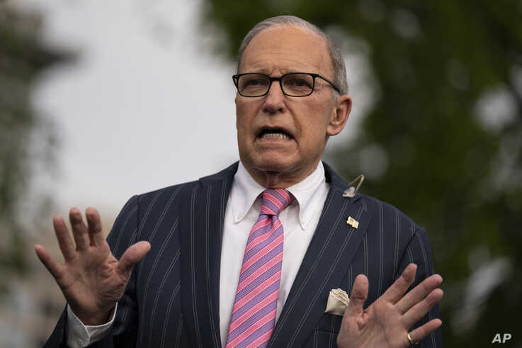 White House chief economic adviser Larry Kudlow talks to reporters at the White House, Tuesday, April 7, 2020, in Washington. …