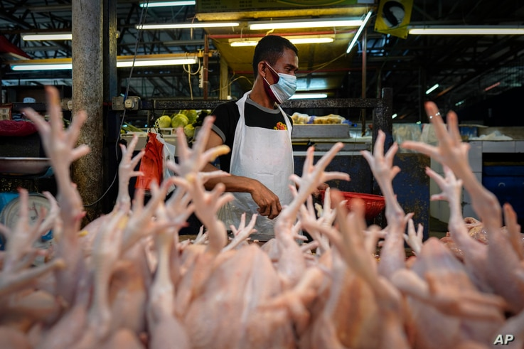 A poultry vendor wearing a face mask to help curb the spread of the coronavirus prepares birds at a wet market in downtown…