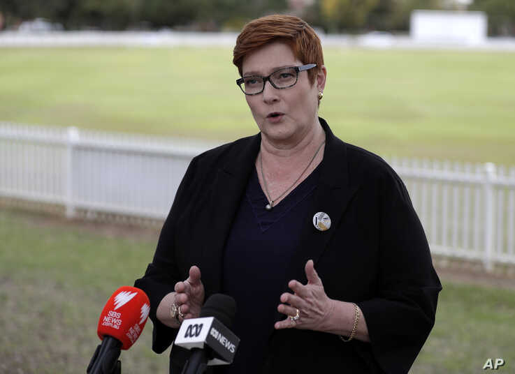 Australian Foreign Minister Marise Payne comments in Penrith, Australia Monday, May 18, 2020. Payne welcomed international…
