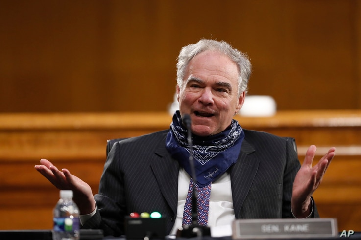 Sen. Tim Kaine, D-Va., speaks during a Senate Health Education Labor and Pensions Committee hearing on new coronavirus tests on...
