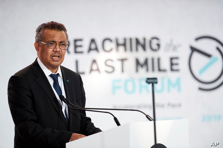 IMAGE DISTRIBUTED FOR REACHING THE LAST MILE FORUM - Dr. Tedros Ghebreyesus, Director General of the WHO, speaks at the…