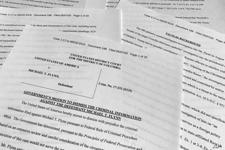 The motion by the government to dismiss the criminal case against Michael Flynn is photographed Thursday, May 7, 2020. The…