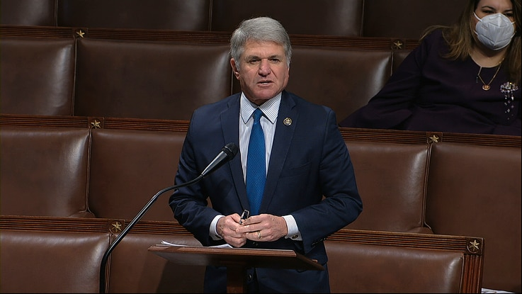 In this image from video, Rep. Michael McCaul, R-Texas, speaks on the floor of the House of Representatives at the U.S. Capitol…