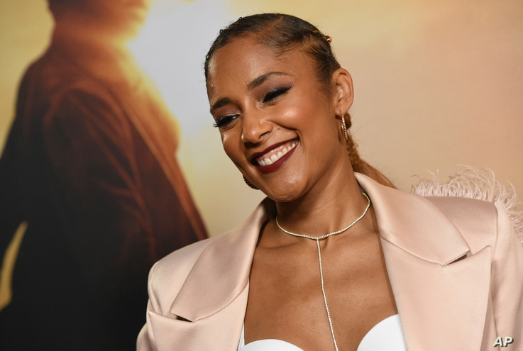 """Amanda Seales arrives at the Los Angeles premiere of """"Harriet"""" at the Orpheum Theatre on Tuesday, Oct. 29, 2019. (Photo by…"""