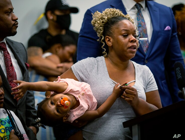 Tomika Miller, the widow of Rayshard Brooks, speaks at a news conference on Monday, June 15, 2020, in Atlanta. The Brooks…