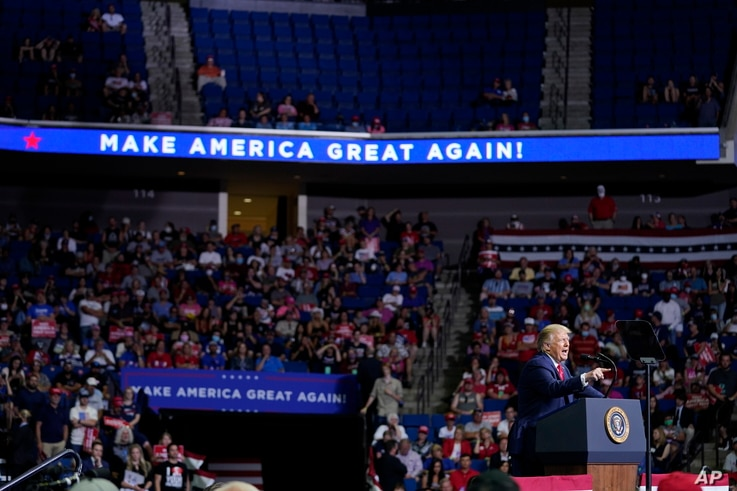 President Donald Trump speaks during a campaign rally at the BOK Center, Saturday, June 20, 2020, in Tulsa, Okla. (AP Photo…
