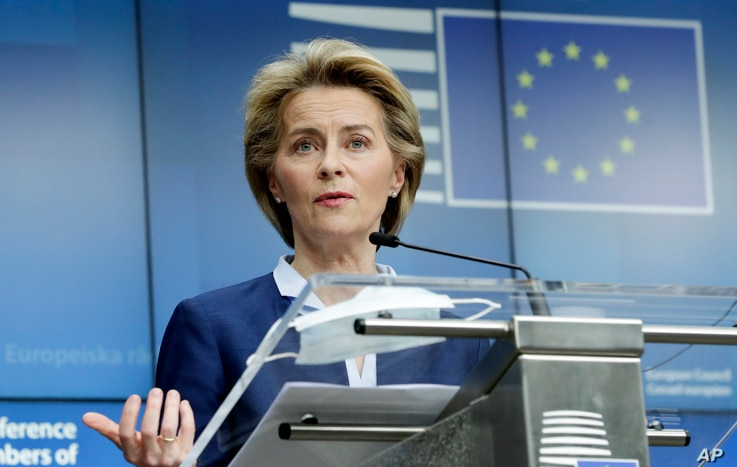 European Commission President Ursula von der Leyen speaks during a media conference after an EU summit, in video conference…