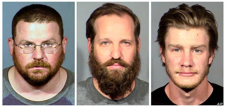 FILE - These undated file booking photo provided by the Las Vegas Metropolitan Police Department show, from left, William L…
