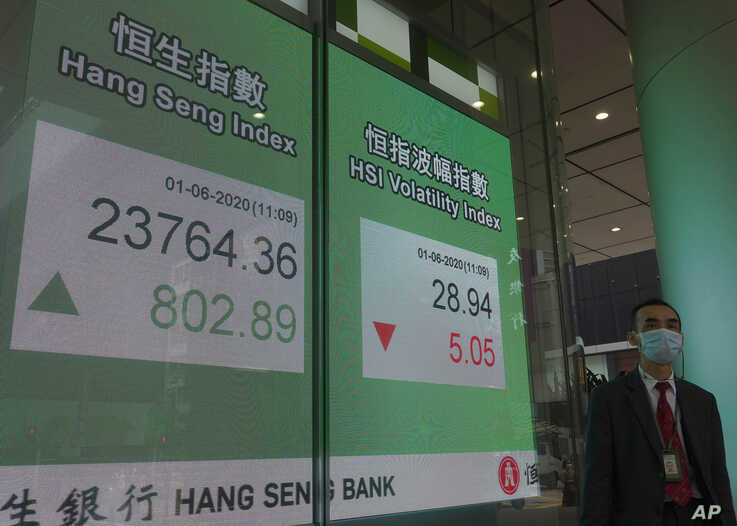 A man wearing a face mask walks past a bank electronic board showing the Hong Kong share index at Hong Kong Stock Exchange…