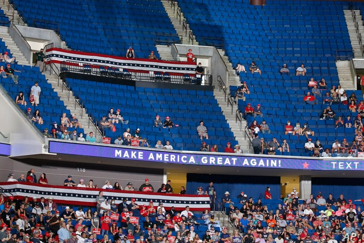 Empty seats are pictured during a Trump campaign rally at the BOK Center, Saturday, June 20, 2020, in Tulsa, Okla. (AP Photo…