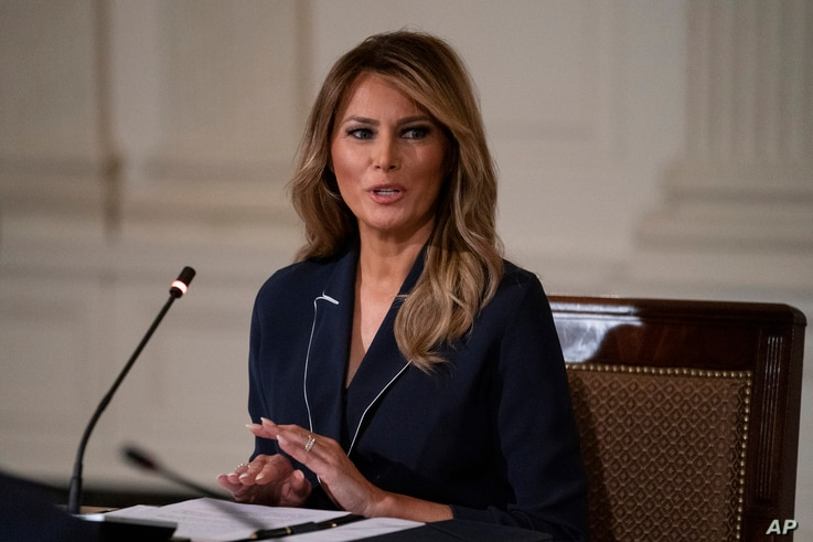 FILE - In this Thursday, July 23, 2020, file photo, first lady Melania Trump speaks during an Indian Health Service (IHS) Task…