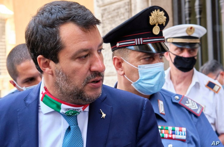 Former Interior minister Matteo Salvini leaves the Senate prior to a vote on lifting his immunity for a trial on Aug 2019 Open…
