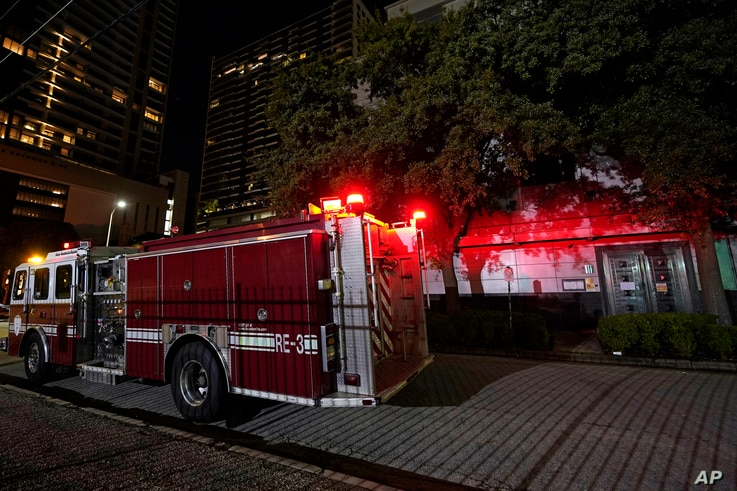 A firetruck is positioned outside the Chinese Consulate Wednesday, July 22, 2020, in Houston. Authorities responded to reports…