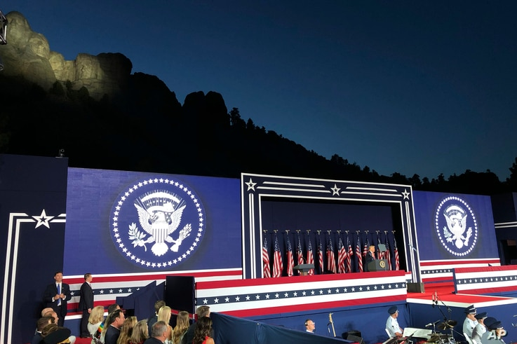 President Donald Trump speaks at Mount Rushmore National Monument Friday, July 3, 2020, in Keystone, S.D. (AP Photo/Alex…