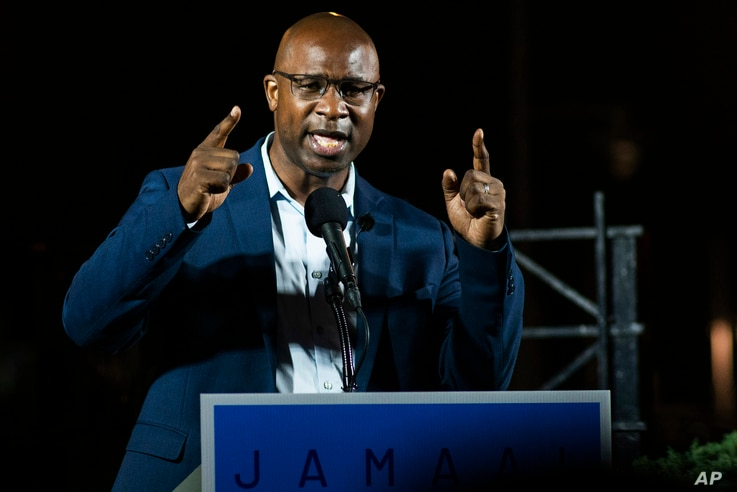 FILE - This June 23, 2020 file photo shows Jamaal Bowman speaking to attendees during his primary-night party. The former...