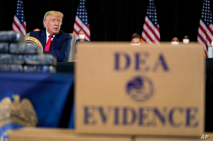 President Donald Trump speaks during a briefing on counternarcotics operations at U.S. Southern Command, Friday, July 10, 2020,…