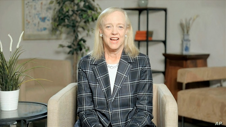 In this image from video, Meg Whitman, chairwoman and CEO of Hewlett-Packard, speaks during the first night of the Democratic…