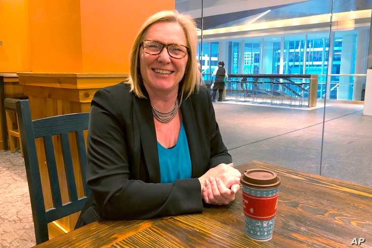 In this Nov. 22, 2019 photo, GOP congressional candidate Michelle Fischbach discusses Minnesota's 7th District race at a coffee…