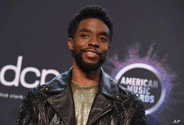 Chadwick Boseman poses in the press room at the American Music Awards on Sunday, Nov. 24, 2019, at the Microsoft Theater in Los…