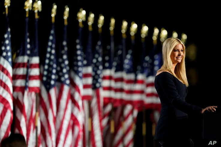 Ivanka Trump speaks from the South Lawn of the White House on the fourth day of the Republican National Convention, Thursday,…