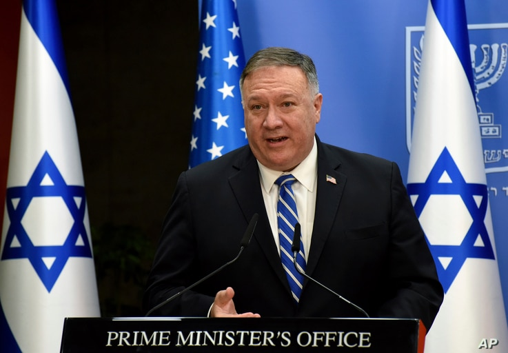 U.S. Secretary of State Mike Pompeo speaks during a joint statement to the press with Israeli Prime Minister Benjamin Netanyahu…