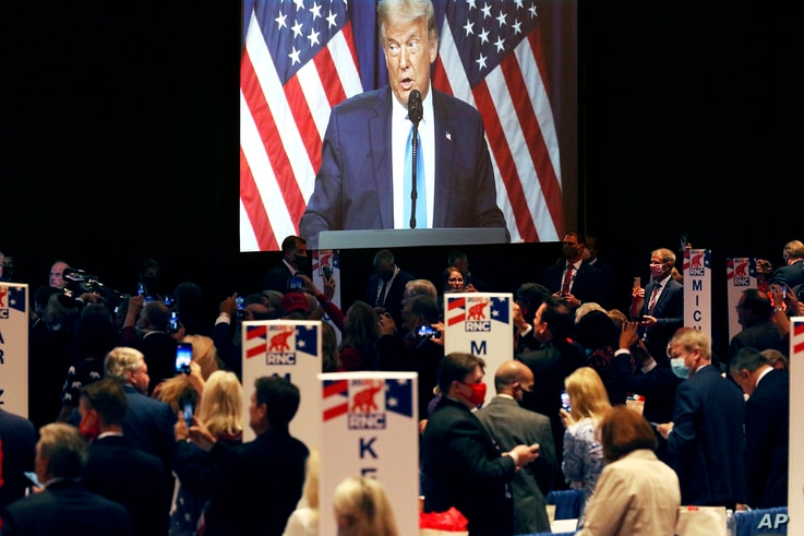 President Donald Trump speaks during the first day of the Republican National Convention Monday, Aug. 24, 2020, in Charlotte, N…