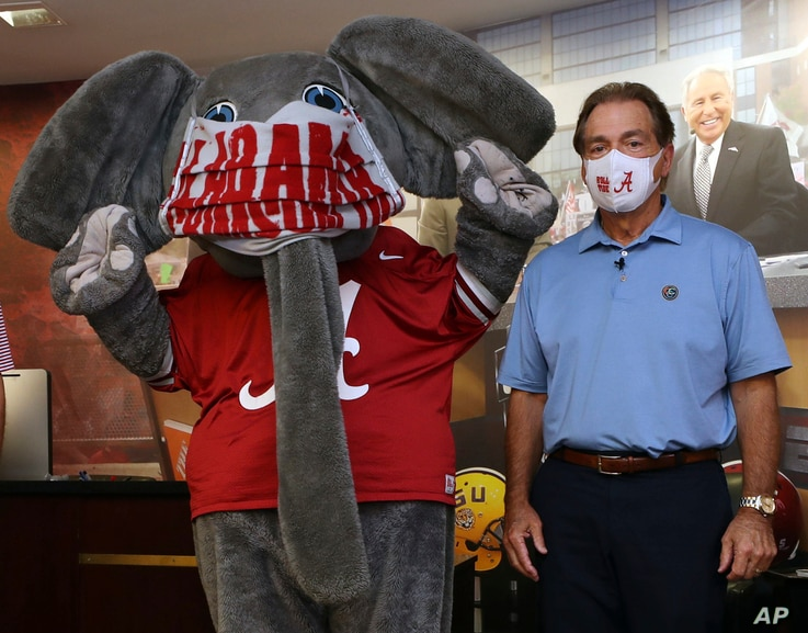 HOLD FOR SATURDAY, MAY 23- In this May 20, 2020 photo provided by the University of Alabama, football head coach Nick Saban and…