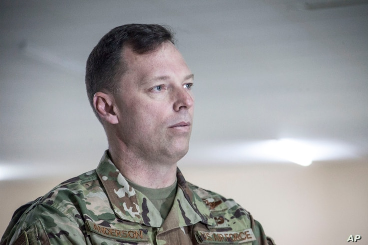In this photograph taken Tuesday Feb. 25, 2020, U.S. Air Force Brig. Gen. Dagvin Anderson, commander of the U.S. military's…