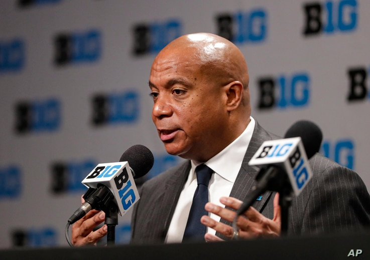 FILE - In this March 12, 2020, file photo, Big Ten Commissioner Kevin Warren addresses the media in Indianapolis after it was…