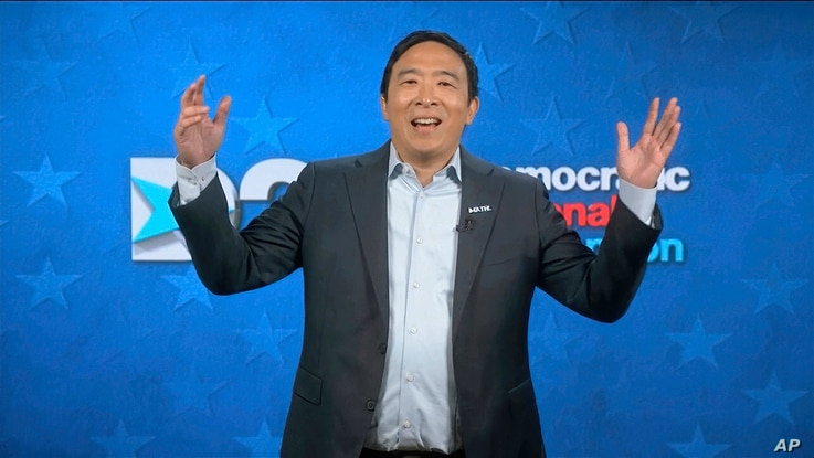 In this image from video, Andrew Yang speaks during the fourth night of the Democratic National Convention on Thursday, Aug. 20…