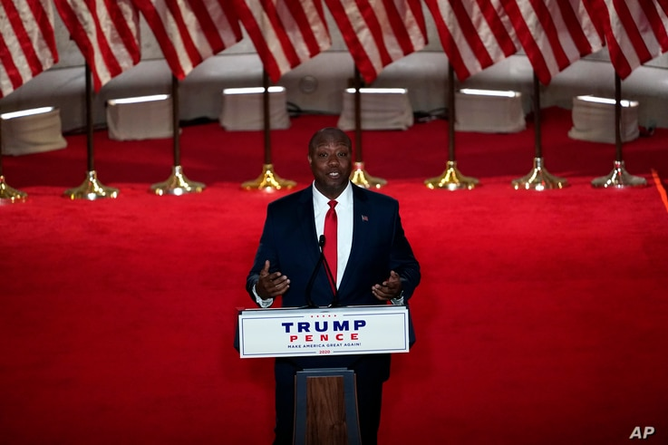 Sen. Tim Scott, R-S.C., speaks during the Republican National Convention from the Andrew W. Mellon Auditorium in Washington,…
