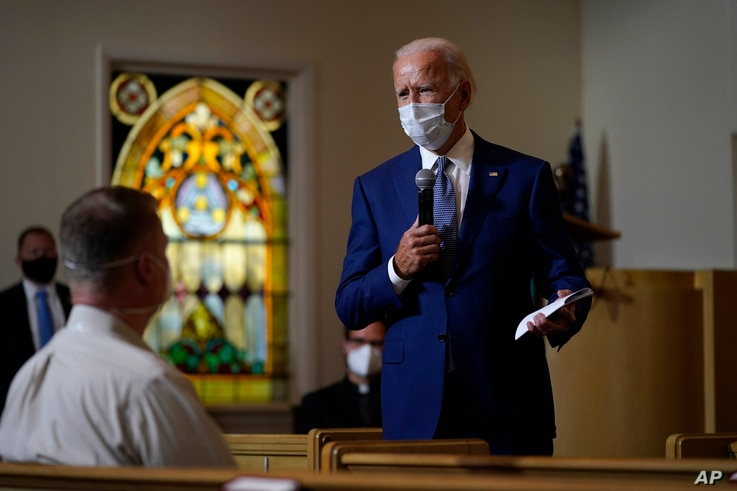 Democratic presidential candidate former Vice President Joe Biden speaks as he meets with members of the community at Grace…