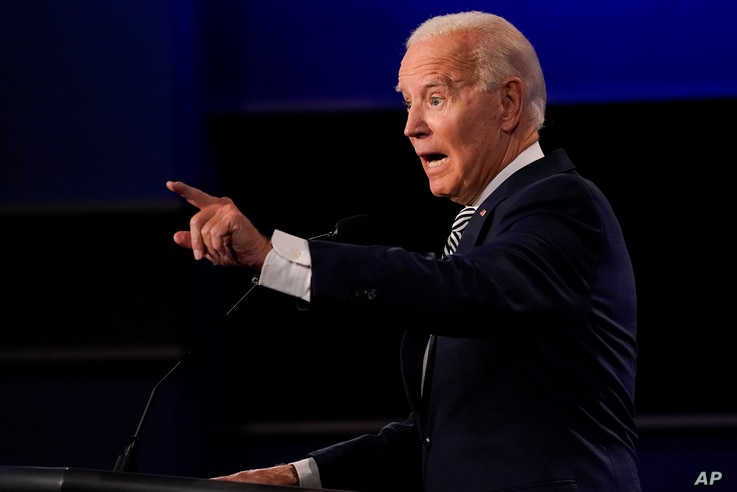 Democratic presidential candidate former Vice President Joe Biden gestures while speaking during the first presidential debate…