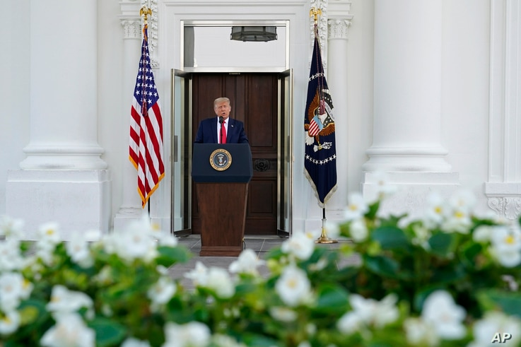 President Donald Trump speaks during a news conference on the North Portico of the White House, Monday, Sept. 7, 2020, in…