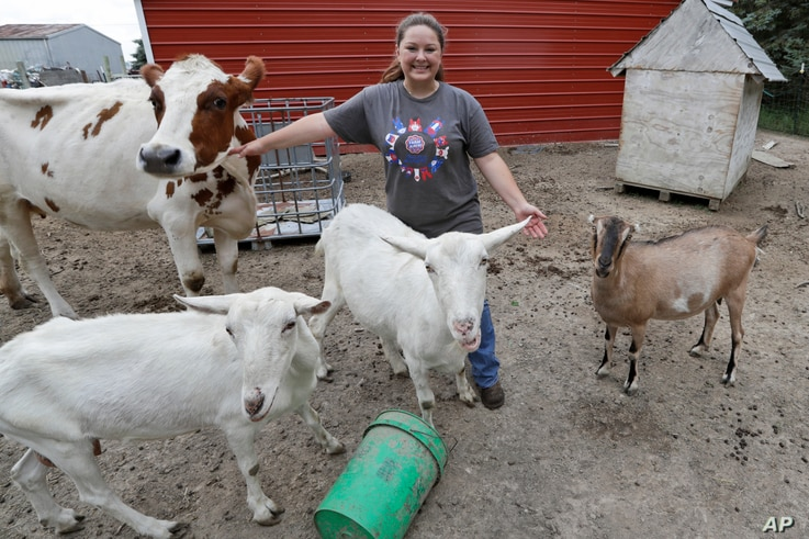 Arrissa Swails poses for a photograph with her cow, Honey, and her goats, Tuesday, Sept. 1, 2020, near Jenera, Ohio. This week,…