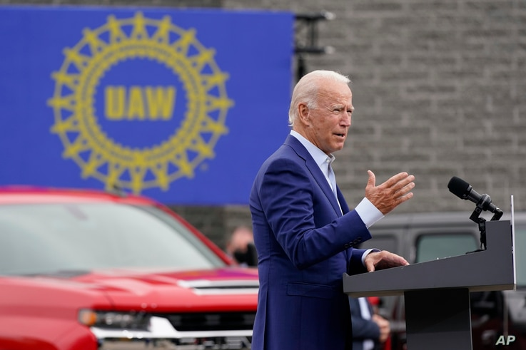 Democratic presidential candidate former Vice President Joe Biden speaks at a campaign event on manufacturing and buying…