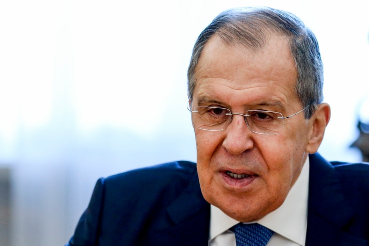 In this photo released by Russian Foreign Ministry Press Service, Russian Foreign Minister Sergey Lavrov speaks to Sahiba…