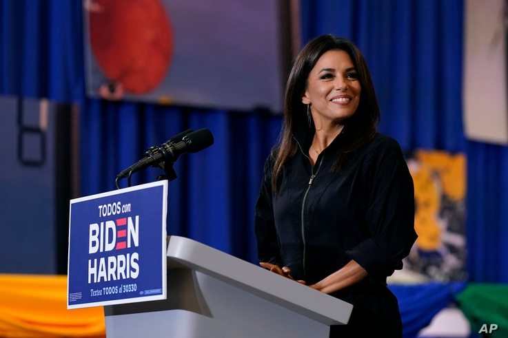 Actress Eva Longoria speaks during a Hispanic Heritage Month event featuring Democratic presidential candidate former Vice…