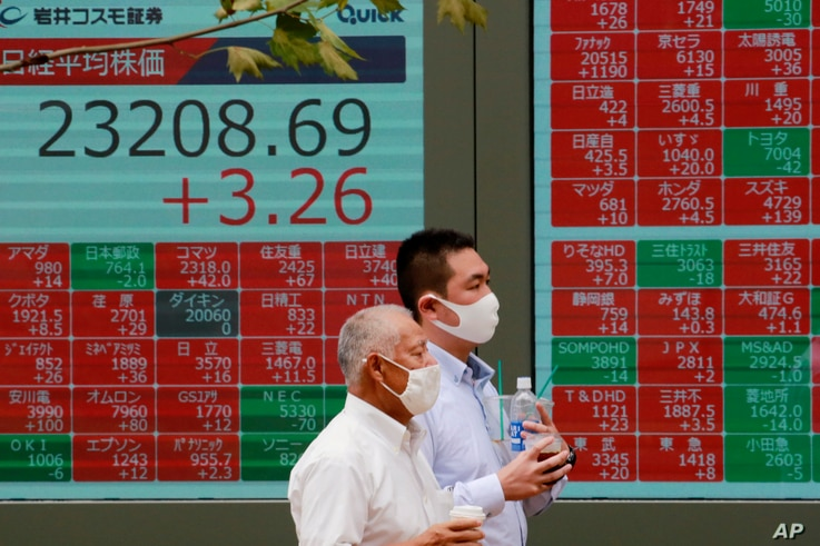 People walk by an electronic stock board of a securities firm in Tokyo, Monday, Sept. 7, 2020. Asian stock markets were mixed…