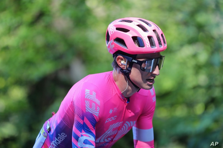 Neilson Powless of the US rides during the 16th stage of the Tour de France cycling race over 164 kilometers from La Tour-du…