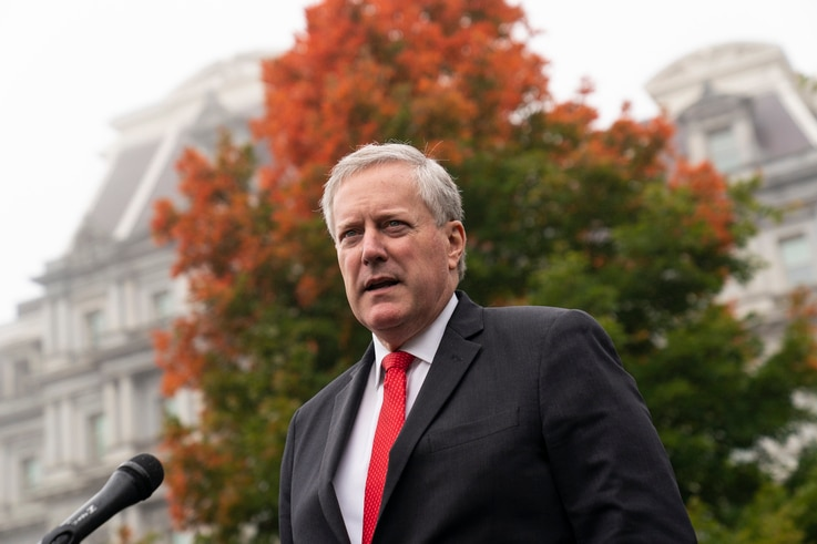 White House chief of staff Mark Meadows speaks with reporters at the White House, Wednesday, Oct. 21, 2020, in Washington. (AP…