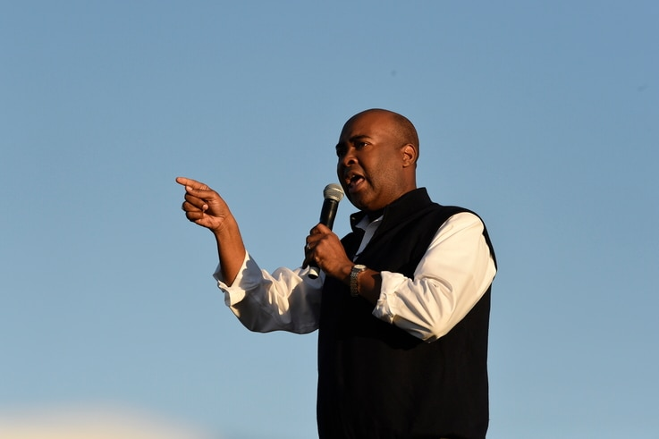 Democratic U.S. Senate candidate Jaime Harrison speaks at a campaign rally on Saturday, Oct. 17, 2020, in North Charleston, S.C…