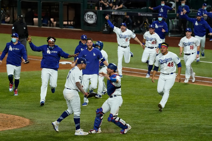Los Angeles Dodgers celebrate after defeating the Tampa Bay Rays 3-1 to win the baseball World Series in Game 6 Tuesday, Oct…
