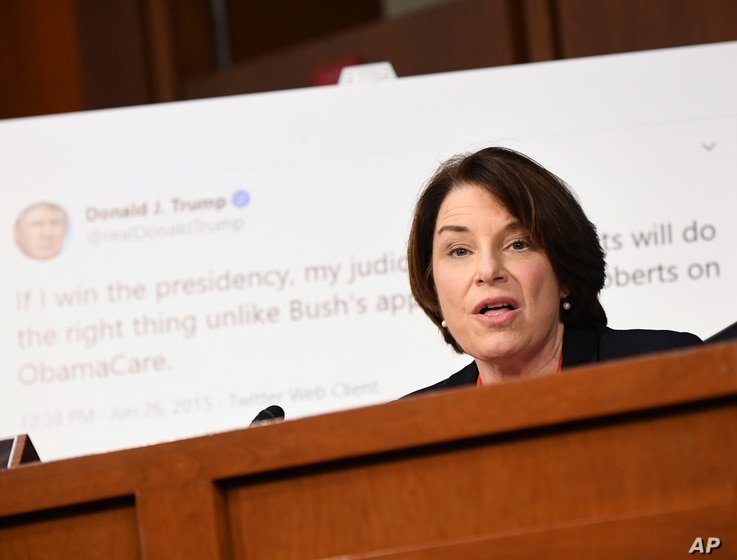 Sen. Amy Klobuchar, D-Minn., speaks during a confirmation hearing for Supreme Court nominee Amy Coney Barrett before the Senate…