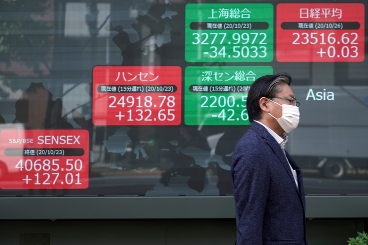 A man walks past an electronic stock board showing Japan's Nikkei 225 and other Asian indexes at a securities firm in Tokyo…